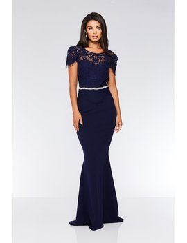 Navy Lace Embellished Fishtail Maxi Dress by Quiz