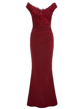 Burgundy Bardot Lace Fishtail Maxi Dress by Quiz
