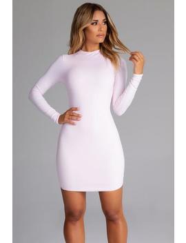 Kylie Long Sleeve Mini Dress   Baby Pink by Meshki