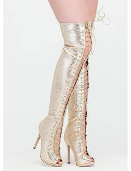 Revamp Metallic Over The Knee Boots by Go Jane