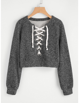 Grommet Lace Up Marled Knit Crop Sweatshirt by Romwe