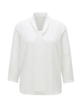 Lightweight Blouse In Stretch Crepe With Tie Neck by Boss