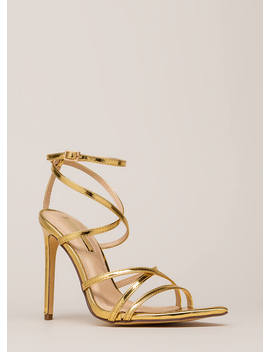All Straps Pointy Metallic Heels by Go Jane