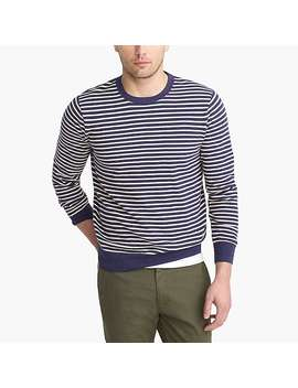 Slim Fit Cotton Piqué Crewneck Sweater In Stripe by J.Crew