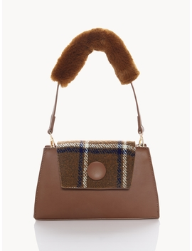 Fuzz Strap Tartan Shoulder Bag   Brown by Pomelo
