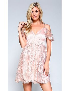 Short Pink Lace V Neck Prom Dress by Promgirl