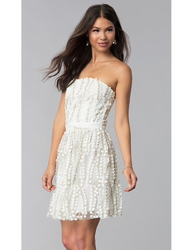 Strapless Ivory Lace Graduation Party Dress by Promgirl