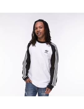 Mens Adidas 3 Stripes Long Sleeve Tee by Adidas