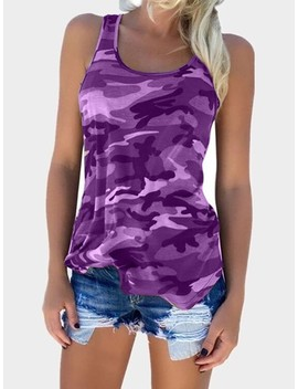 Camouflage Print Racer Back Tank Top by Ivrose