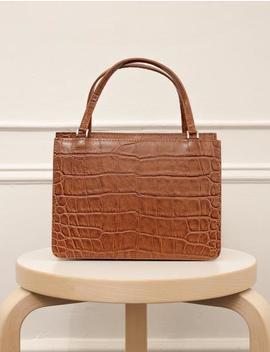 Brown Croc Embossed Shoulder Bag by Pixie Market