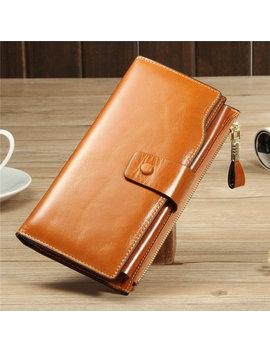 Rfid Women Retro Genuine Leather Long Wallet Card Holder Multi Slots Purse by Newchic
