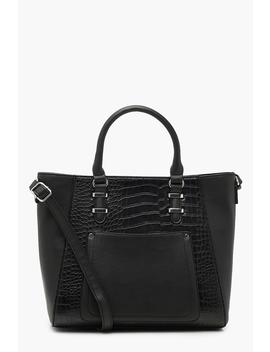 Faux Croc & Pocket Tote Bag by Boohoo