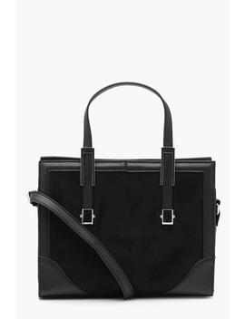 Suedette & Metal Trim Mini Tote Cross Body by Boohoo