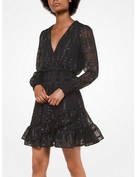 Plaid Jacquard Ruffled Dress by Michael Michael Kors