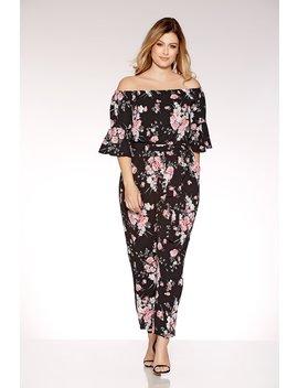 Curve Black And Pink Floral Print Bardot Jumpsuit by Quiz