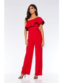 Red And Black Frill Wide Leg Jumpsuit by Quiz