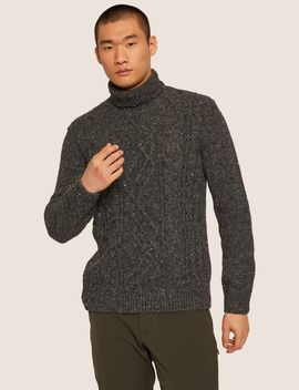 Cable Stitch Wool Blend Turtleneck by Armani Exchange