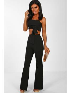 Love Machine Black Bandeau Crop Top Wide Leg Trousers Co Ord by Pink Boutique