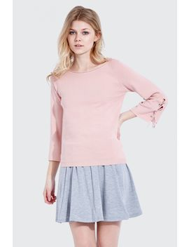 Eyelet Tie Cuff Jumper by Select