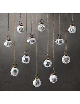 Geometric Textured Glass Mini Ornaments (Set Of 12) by Restoration Hardware