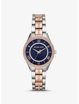 Mini Lauryn Pavé Two Tone Watch by Michael Kors