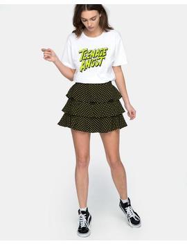 Casseyette Skirt In Yellow And Black Polka Dot by Motel Rocks