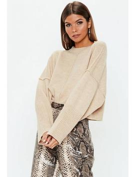 Pull Oversize Beige Manches Larges by Missguided