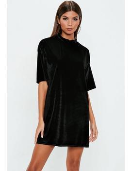 Robe T Shirt En Velours Noir by Missguided