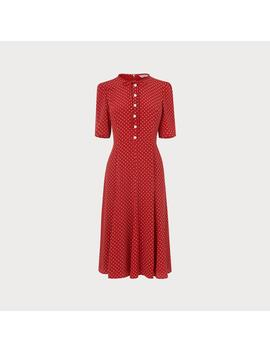 Montana Red Polka Dot Silk Dress by L.K.Bennett