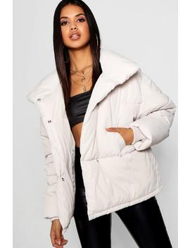 Funnel Wrap Neck Puffer Jacket by Boohoo