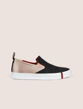 Paneled Satin Slip On Sneaker by Armani Exchange