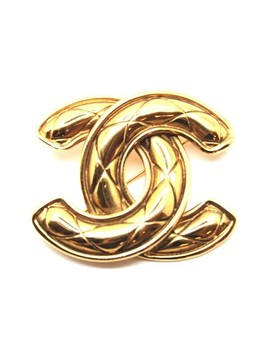 Gold Vintage Quilted Charm Pin Brooch by Chanel