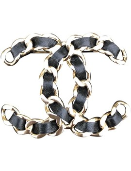 Black 18 Large Brooch Chain Leather Gold Classic Cc Sold Out by Chanel
