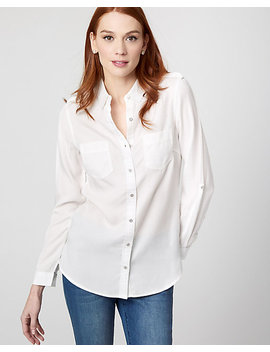 Lyocell Button Front Blouse by Le Chateau