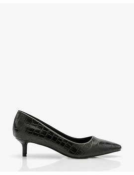 Croco Embossed Pointy Toe Kitten Heel Pump by Le Chateau
