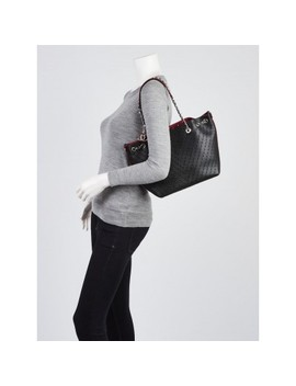 Black Perforated Grained Calfskin Leather Tote Bag by Chanel