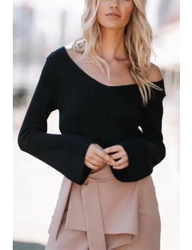 Simple V Neck Flare Sleeve Crop Sweater by Lupsona