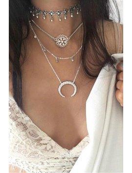 Boho Crystal Moon Pendant Necklace Set by Lupsona
