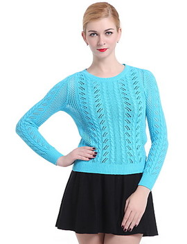 Dame Gatemote Pullover   Ensfarget  #03550010 by Lightinthebox