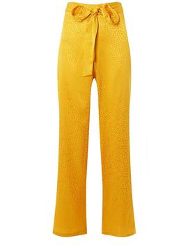 Yellow Belted Jacquard Palazzo Trousers by Dorothy Perkins