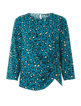Teal Animal Print Knot Front Top by Dorothy Perkins