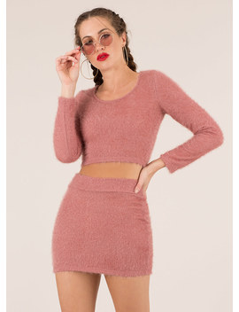 Fuzz Worthy Knit Top And Skirt Set by Go Jane