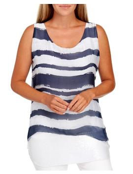 Painted Stripe Sequin Layered Top Painted Stripe Sequin Layered Top by Belle France Belle France