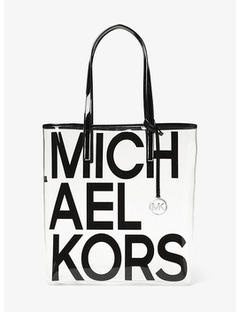 The Michael Large Graphic Logo Print Clear Tote by Michael Michael Kors