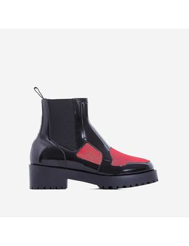 Dixon Red Mesh Panel Ankle Biker Boot In Black Patent by Ego
