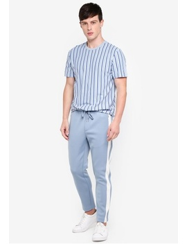 Light Blue Track Joggers With Side Panel by Topman