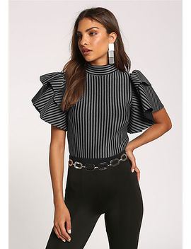Grey Stripe Tiered Sleeve Crop Top by Love Culture