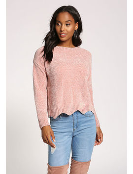 Dusty Pink Scallop Soft Sweater Top by Love Culture