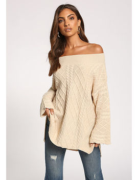 Oatmeal Cable Knit Off Shoulder Sweater Top by Love Culture