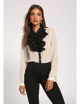 Cream Ruffle Tiered Pearl Blouse by Love Culture